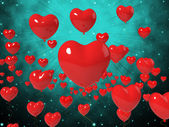 Heart Balloons On Background Shows High In Love Or Passionate Ro — Stockfoto