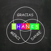 Gracias Merci and Danke Mean Thanks in Foreign Languages — Stock Photo