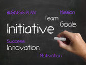 Initiative on Chalkboard Refers to Motivation Enterprise and Dri — Stock Photo