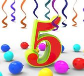 Number Five Party Shows Multi Coloured Decorations And Confetti — Stock Photo
