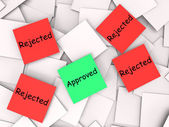 Approved Rejected Post-It Notes Shows Accepted Or Refused — Stock Photo