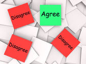 Agree Disagree Post-It Notes Mean For Or Against — Stock Photo