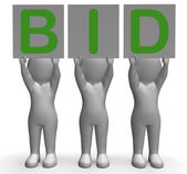 Bid Banners Shows Auction Bidder And Auctioning — Stock Photo