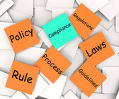 Compliance Post-It Note Shows Following Rules And Regulations — Stock Photo