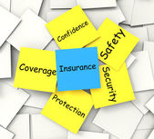 Insurance Post-It Note Shows Financial Security And Coverage — Stock Photo