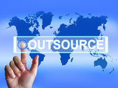 Outsource Map Means International Subcontracting or Outsourcing — Zdjęcie stockowe