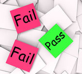 Pass Fail Post-It Notes Mean Certified Or Unsatisfactory — Stock Photo