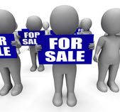 Characters Holding For Sale Signs Mean On Sale Goods — Stock Photo