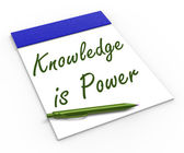 Knowledge Is Power Notebook Means Successful Intellect And Menta — Stock Photo