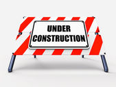 Under Construction Sign Shows Partially Insufficient Construct — Stock Photo
