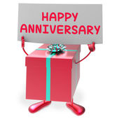 Happy Anniversary Sign and Gift Shows Cheerful Festivities and P — Stock Photo