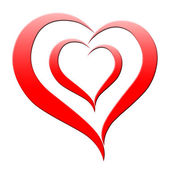 Red Heart Means Romanticism Passion And Amour — Stock Photo