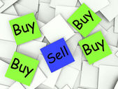 Buy Sell Post-It Notes Show Retail And Transactions — Stock Photo