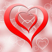 Heart On Background Means Romanticism Passion And Love — Stock Photo