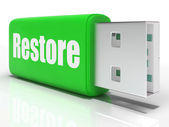 Restore Pen drive Means Data Safe Copy Or Backup — Stock Photo