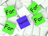 For Against Post-It Notes Shows Supporting Or Opposed To — Stock Photo