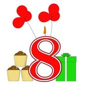 Number Eight Candle Means Eighth Birthday Party Or Celebration — Stock Photo