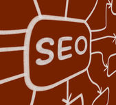 SEO Diagram Means Optimized For Search Engines — Stock Photo