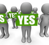 Characters Holding Yes Signs Mean Agreement And Confirmation — Stock Photo