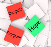 Hope Despair Post-It Notes Show Hoping Or Depression — Stock Photo