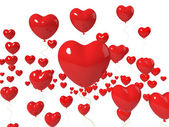 Heart Balloons Floating Show Love Is In The Air — Stockfoto