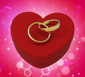 Wedding Rings On Heart Box Mean Romantic Proposal And Vows — Stock Photo