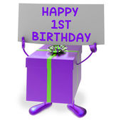 Happy 1st Birthday Sign and Gift Show First Party — Stock Photo