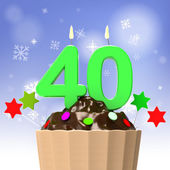 Forty Candle On Cupcake Shows Special Occasion Or Event — Stock Photo