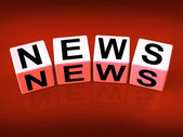 News Blocks Show Broadcast Announcement and Headlines — Stock Photo
