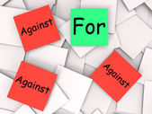 For Against Post-It Notes Show Agree Or Disagree To — Stock Photo