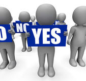 Characters Holding No Yes Signs Show Uncertain Or Confused — Stock Photo