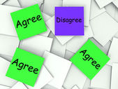 Agree Disagree Post-It Notes Mean Agreeing Or Opposing — Stock Photo
