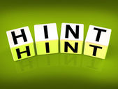 Hint Blocks Represent Suggestion Clue or Assistance — Stock Photo