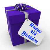 Happy 4th Birthday Gift Means Congratulations On Four Years — Stock Photo
