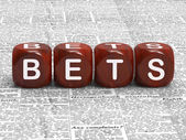 Bets Dice Mean Gambling Risk And Betting — Stock Photo