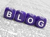 Spettacolo di dadi blog scrivendo notizie marketing o parere — Foto Stock