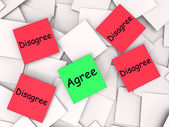 Agree Disagree Post-It Notes Mean Opinion Agreement Or Disagreem — Stock Photo