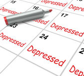 Depressed Calendar Means Discouraged Despondent Or Mentally Ill — Stock Photo