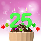 Twenty Five Candle On Cupcake Shows Getting Older Or Growing Up — Stock Photo