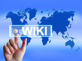 Wiki Map Means Internet Information and Encyclopaedia Websites — Stock Photo