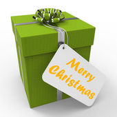 Merry Christmas Gift Means Xmas And Seasons Greetings — Stock Photo