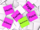 Meditation Post-It Note Means Meditate Relax And Peace — Stock Photo