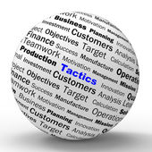 Tactics Sphere Definition Shows Management Plan Or Strategy — Stock Photo
