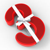 Number Three With Ribbon Shows Event Gifts Or Congratulations — Stock Photo