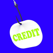 Credit On Hook Means Financial Loan Or Bank Money — Stock Photo