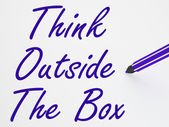 Think Outside The Box On Whiteboard Shows Innovation And Creativ — Stock Photo