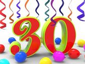 Number Thirty Party Shows Colourful Creative Decoration And Brig — Stock Photo