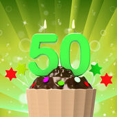 Fifty Candle On Cupcake Shows Fiftieth Anniversary Or Remembranc — Stock Photo