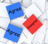Agree Disagree Post-It Notes Mean Opinion And Point Of View — Stock Photo
