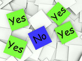 Yes No Post-It Notes Show Affirmative Or Negative — Stock Photo